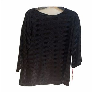 Ruby Rd Black And Silver Stripes Pullover